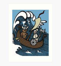 Teddy Bear And Bunny - Rape And Pillage  Art Print