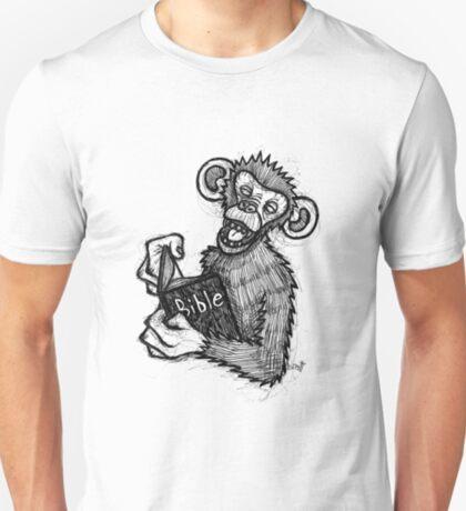 Monkey Laughing At Bible T-Shirt