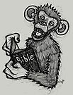 Monkey Laughing At Bible by Brett Gilbert