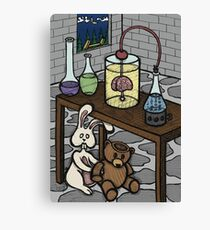 Teddy Bear and Bunny - The Rescue Came Too Late Canvas Print