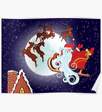 Santa Riding Christmas Sleigh at Night Poster