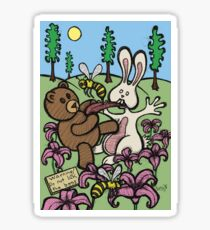 Teddy Bear And Bunny - Do Not Lick The Bees Sticker