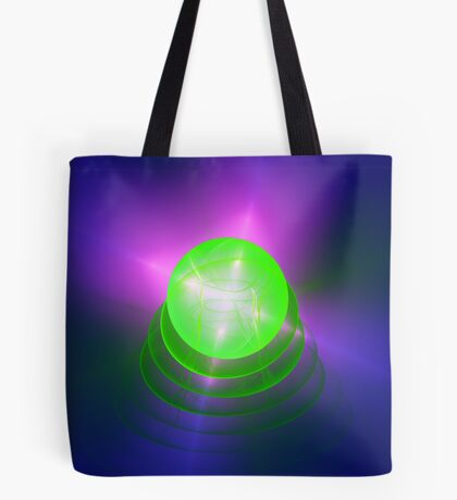 Green light planet #Fractal Art Tote Bag