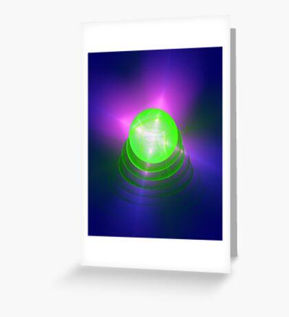 Green light planet #Fractal Art Greeting Card