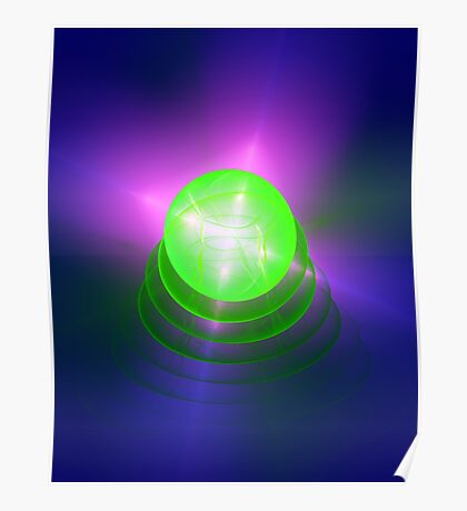 Green light planet #Fractal Art Poster