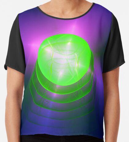 Green light planet #Fractal Art Chiffon Top