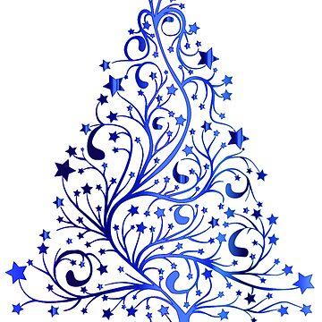 Blue Holiday Tree by hlynn89