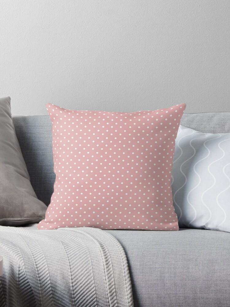 "Vintage Pastel Salmon Pink Polka Dot"" Throw Pillows by B Rush"