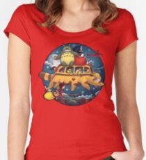 Ghibli World Women's Fitted Scoop T-Shirt
