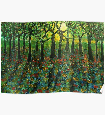 Tulips amongst Bluebells at sunset Poster