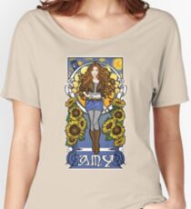 The Girl Who Waited (Amy under a Van Gogh sky) Women's Relaxed Fit T-Shirt