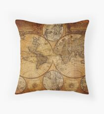 Old vintage world's map Throw Pillow