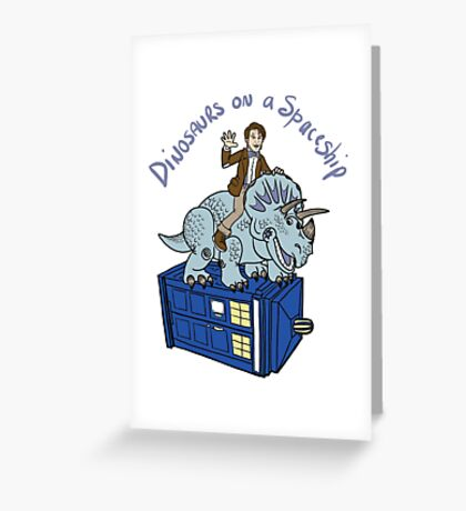 Dinosaurs on a Spaceship Greeting Card