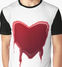 Dripping Heart Shape Graphic T-Shirt