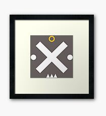 Angry Cool Face with Simple Basic Shapes Framed Print