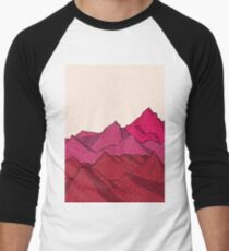 The falling snow and the mountains Men's Baseball ¾ T-Shirt