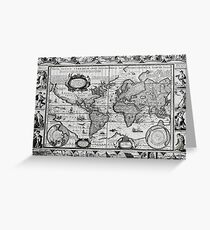 Antique Maps of the World The Americas 1628 Greeting Card