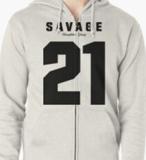 21 Savage Jersey (BLACK) Zipped Hoodie