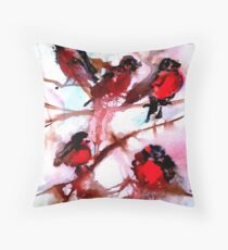 Robins in the Snow Throw Pillow