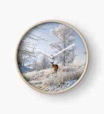 Glen Shiel Misty Winter Deer Clock