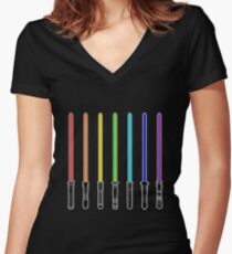 What Color is Your LightSaber Star Wars Rainbow Women's Fitted V-Neck T-Shirt