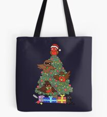 Robins around the Christmas tree Tote Bag