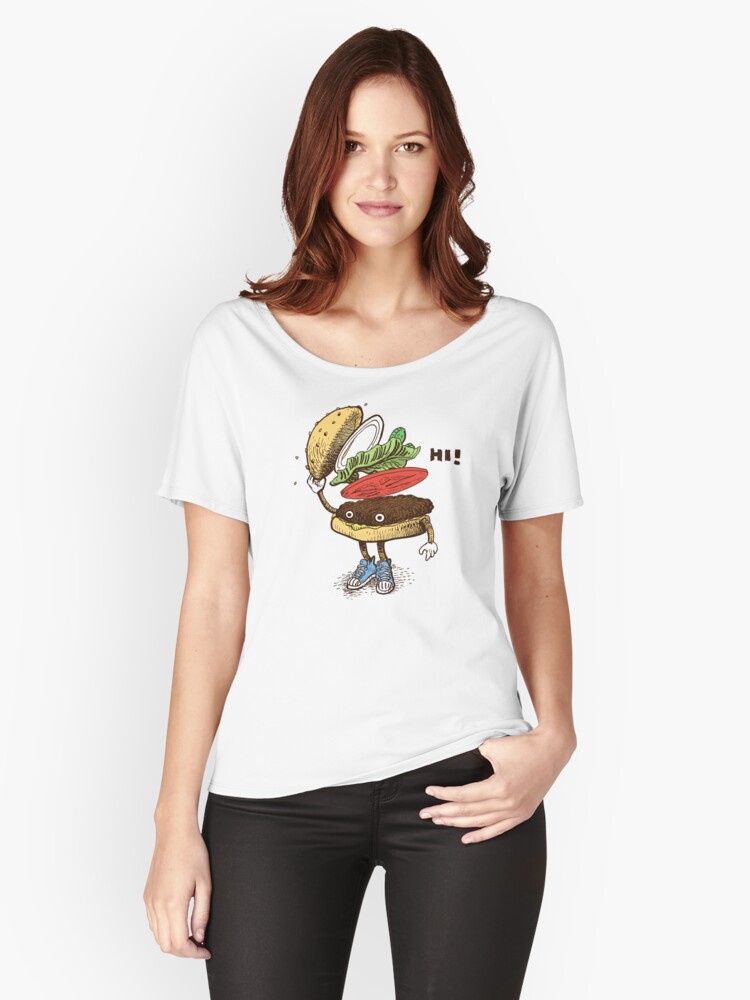Burger Greeting Women's Relaxed Fit T-Shirt Front