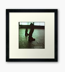 Surrealist photo of legs walking without bodies square color analogue medium format film Hasselblad photo Framed Print