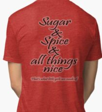GIRLS, Granddaughter, nursery rhyme, Sugar and Spice Tri-blend T-Shirt