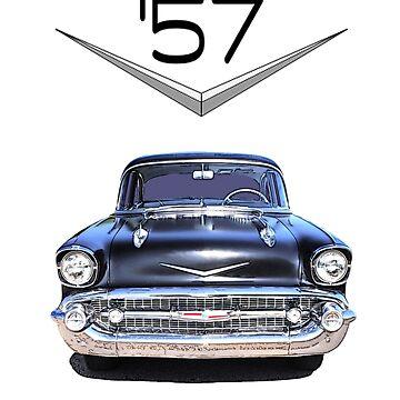 57 Chevy - Front View - Chromework Logo by seansdigitalart