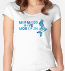 SUMMER MERMAID DARK TEAL by Monika Strigel Women's Fitted Scoop T-Shirt