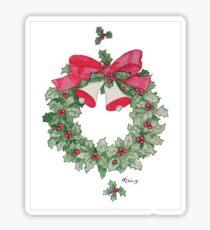 Pegatina Holly Wreath con campanas