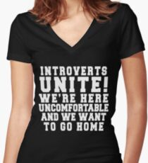 Introverts Unite! Women's Fitted V-Neck T-Shirt