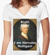 Funny Hercules Mulligan Portrait Women's Fitted V-Neck T-Shirt