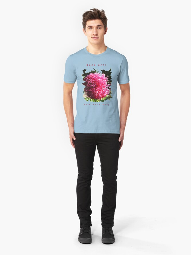 Alternate view of BAD HAIR DAY, PINK DAHLIA FLOWER Slim Fit T-Shirt