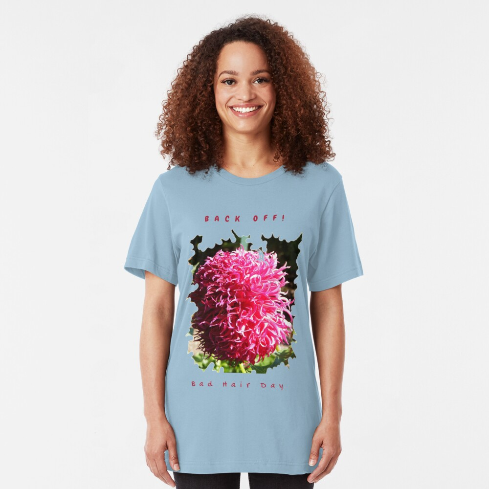 BAD HAIR DAY, PINK DAHLIA FLOWER Slim Fit T-Shirt