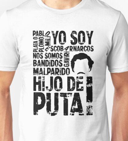 Pablo Escobar: Art Word Narcos Unisex T-Shirt