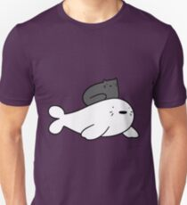 Black Cat and Baby Harp Seal T-Shirt
