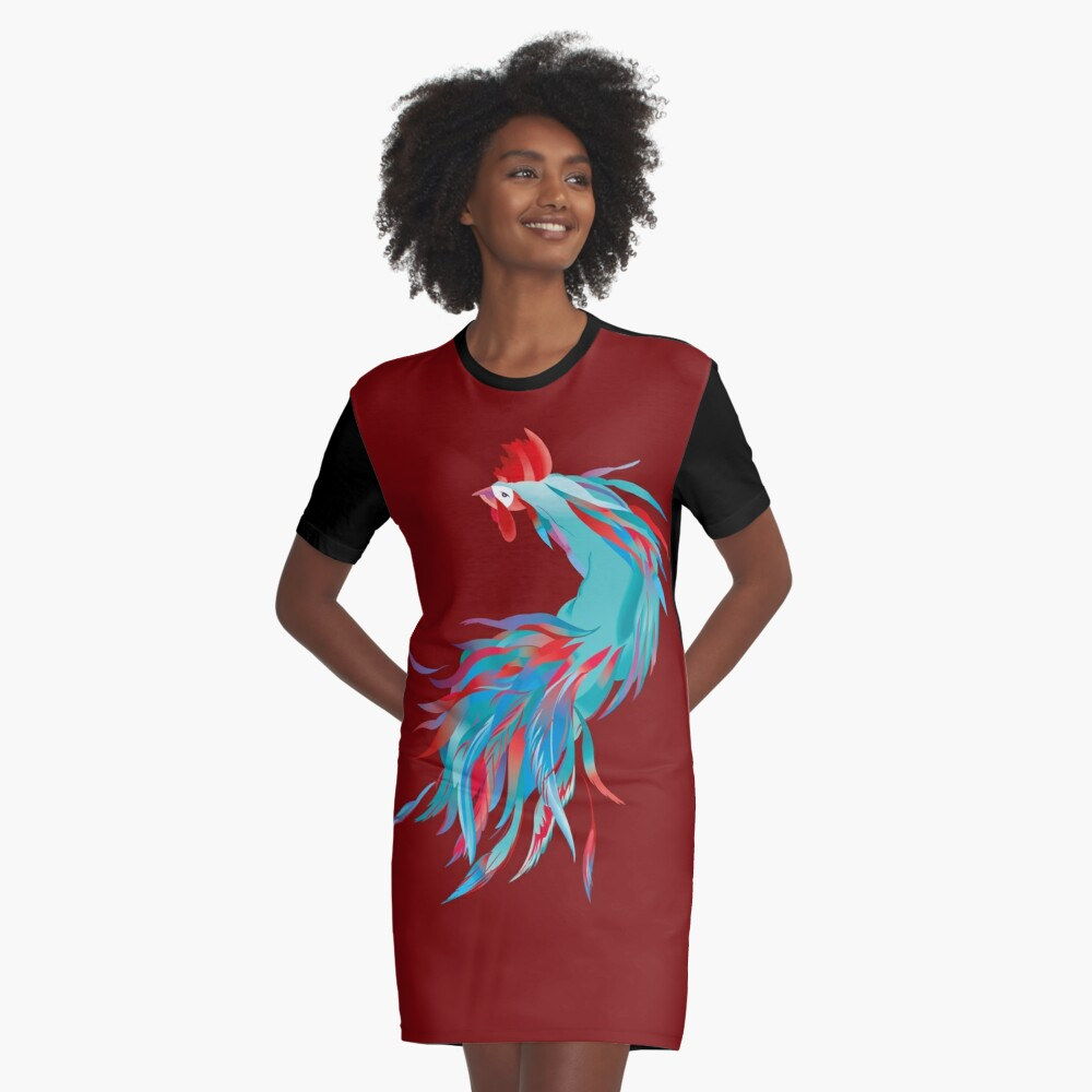 Blue  Rooster Graphic T-Shirt Dress