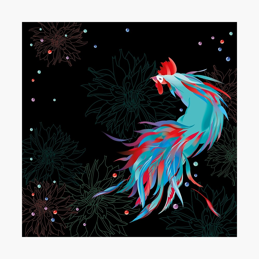 Blue  Rooster Photographic Print
