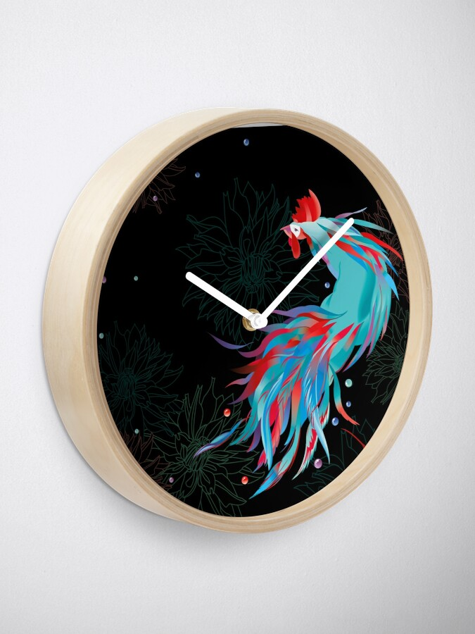Alternate view of Blue  Rooster Clock