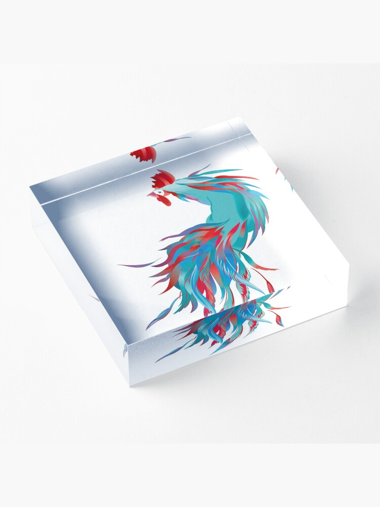 Alternate view of Blue  Rooster Acrylic Block