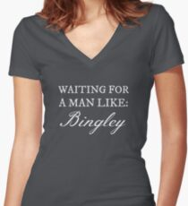Waiting for a Man Like: Bingley (White Text) Women's Fitted V-Neck T-Shirt