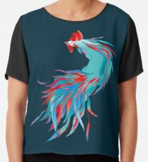 Blue  Rooster Chiffon Top