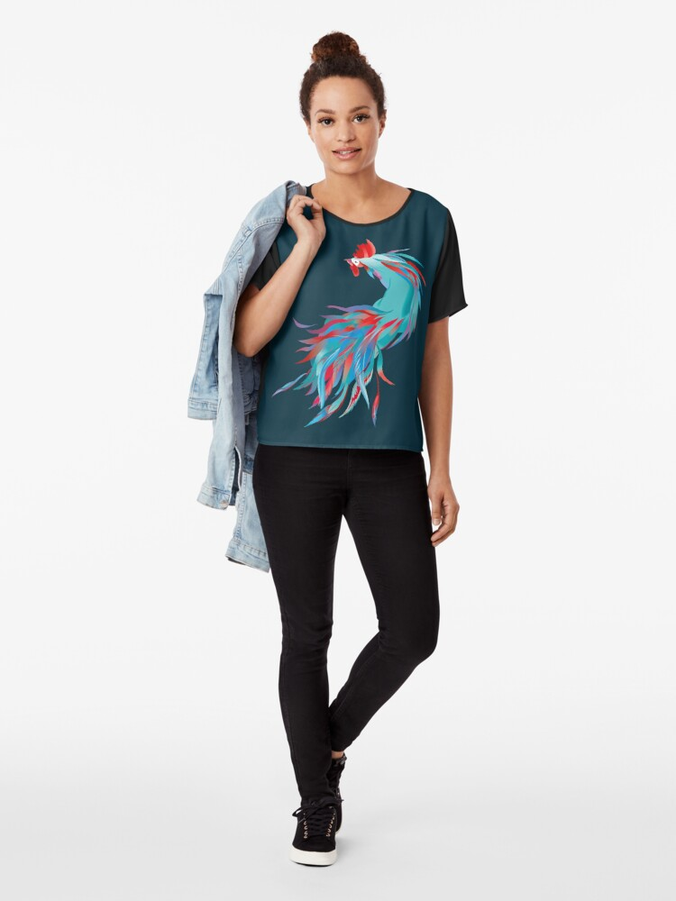 Alternate view of Blue  Rooster Chiffon Top