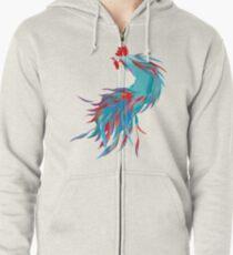 Blue  Rooster Zipped Hoodie