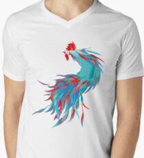 Blue  Rooster V-Neck T-Shirt