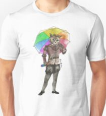 Steampunk Cat with Rainbow Umbrella  Unisex T-Shirt