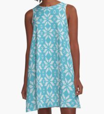 Knitted Snowflake Light Blue A-Line Dress