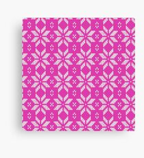 Knitted Snowflake Pink Canvas Print